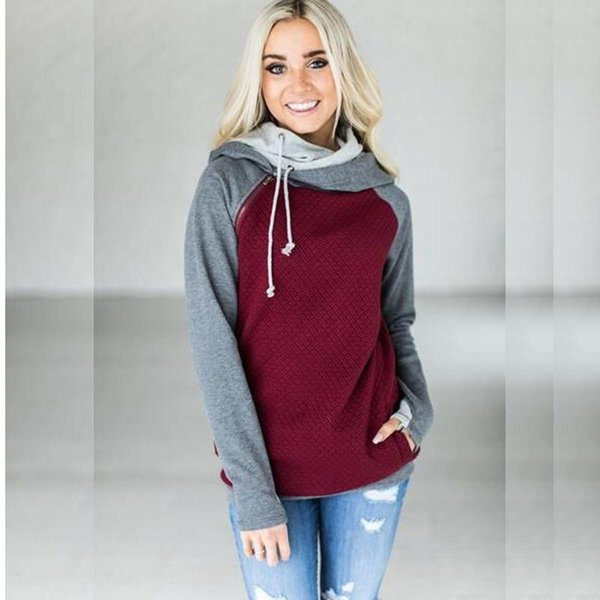 High quality warm women casual hooded patchwork sweatshirt long sleeve pink red pullover ladies autumn tops Hoodies Workout