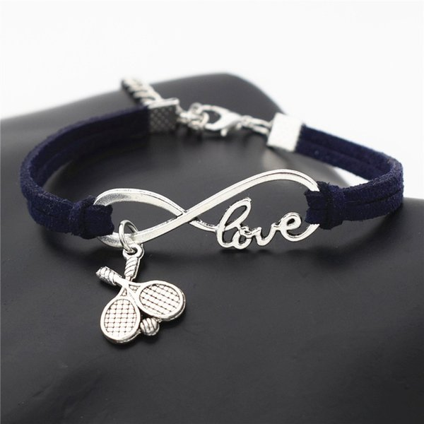Trendy Dark Navy Leather Rope Wrap Silver Color Alloy Infinity Love Tennis Racket Ball Friendship Bracelets Bangles Women Men Couple Jewelry
