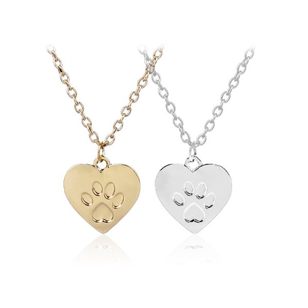 Fashion Pet Lover Dog Cat Paw Pendant Love Heart Gold/Silver Choker Collar Simple Statement Jewelry Necklace