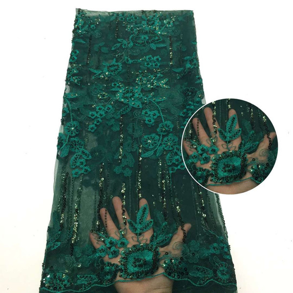 top popular Fabric 2021 High Quality French Tulle Green Trim Hand Made Beaded Lace 2021