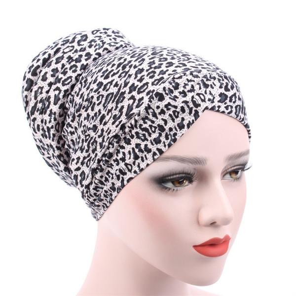 2019 Fashion Collection Blumendruck Leichte Frauen Stretch Kopf wickeln Turban Leopardenmuster nach dem muslimischen Baumwolle Tampon Cap