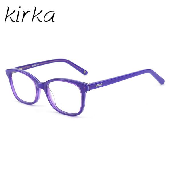 Kirka Children Eyeglasses Acetate Kids Glasses Purple Optical Glasses Frame Child Girls Kids Eyeglass Frames For 6-10Age