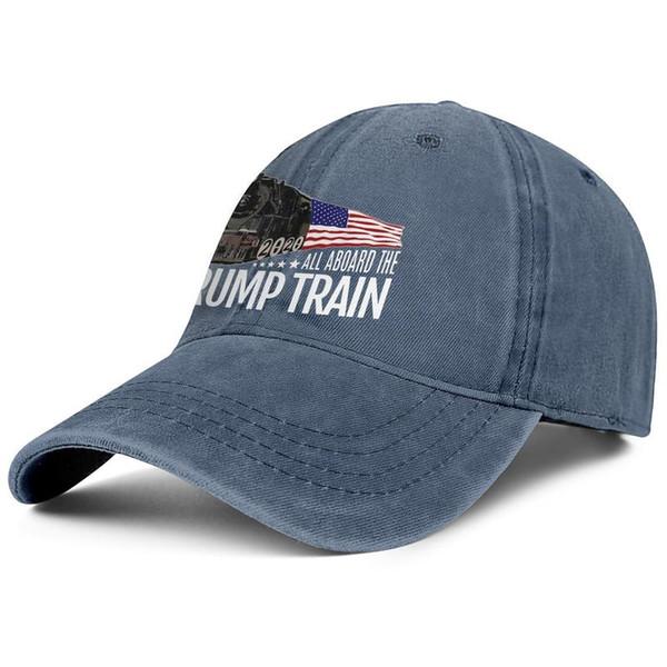 Трамп Поезд 2020 Американский флаг синие мужские и женские джинсовые шляпы стирка воды папа шляпы стили сделать свою собственную рыбалку Назад Закрытие Папа шляпы