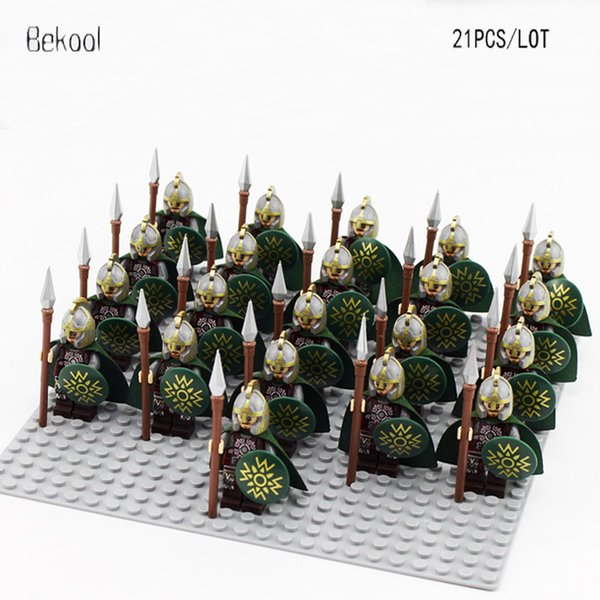 Cheap Blocks 21PCS /LOT Brand NEW Hobbit Lord of the Rings Eomer Rider of Rohan Soldier Minifig weapons Compatible legoe 9471 Block