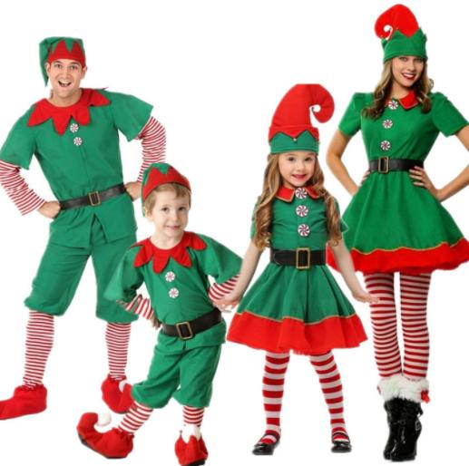 top popular Christmas Clothing Sets children's Christmas elf Costume cosplay parent-child suits Halloween adult men and women green 3 pieces Clothing 2021