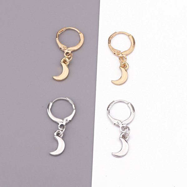 1Pair Cute Chic Gold Silver Moon Hoop Earrings For Women Girl Simple Glossy Small Crescent Endless Circle Earrings Jewelry E242