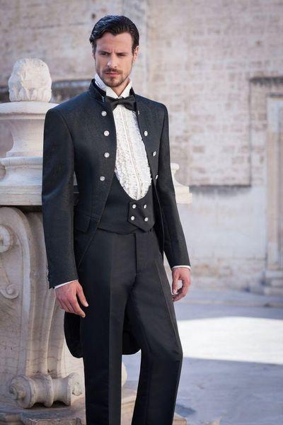 CALDO - Nuovo design Colletto verticale Fascino nero Uomini Groomsmen da sposo Abiti in smoking da sposa (giacca + pantaloni + cravatta + gilet) NO; 287