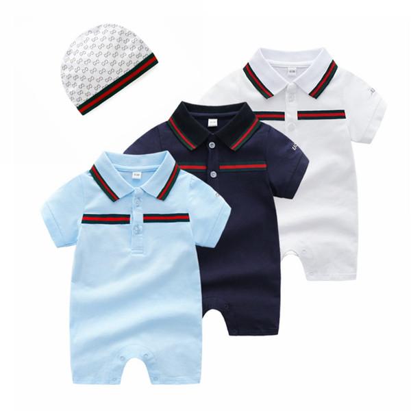 Neue mode babyspielanzug unisex baumwolle kurzarm neugeborenes baby mädchen kleidung overall + hut säuglingskleidung 2pcs / set