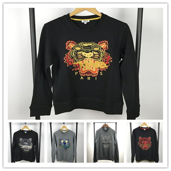 Novetly Sweater Pairs KZ Embroidery tiger head long sleeve O-neck pullover Sweatshirt Mens Womens Casual Streetwear Jogger Tracksuit Unisex