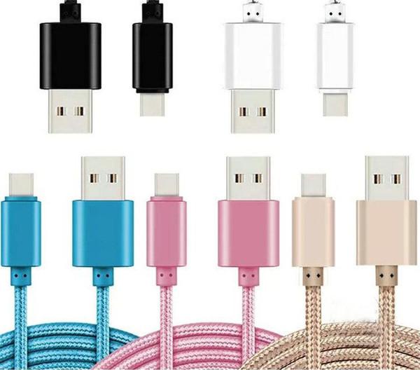 Handy-Kabel für Samsung HTC LG 1M / 2M / 3M 3FT 6FT 10FT Metallgehäuse Geflochtenes Micro-USB-Kabel Hochgeschwindigkeits-Daten-Sync-USB-Ladegerät