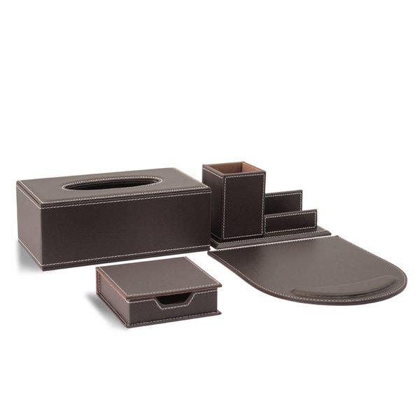 4pcs moderne haut de gamme en cuir fournitures de bureau ensembles porte-stylo titulaire de la carte porte-mémo cas tapis de souris pad de bureau définit brun