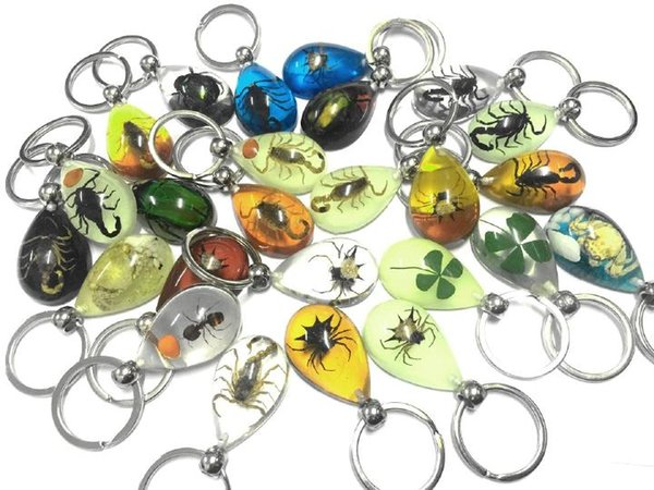 Wholesale Lots 12pcs Real Insect Golden Crab clear cute pendants smart jewelry