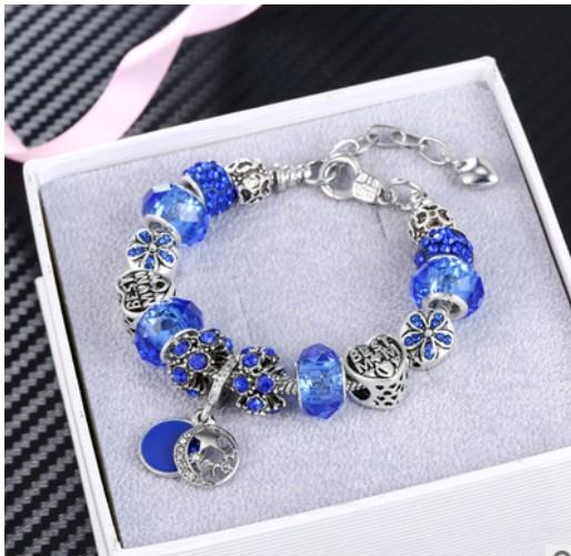 Fashion 925 Sterling Silver Murano Glass & Sapphire Crystal European Charm Beads Fits Pandora Charm bracelets Style Bracelets Necklace Women
