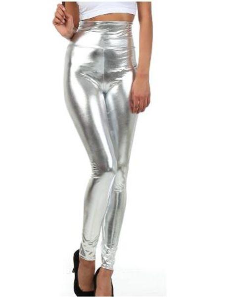 Women Shiny Liquid Metallic High Waist Stretch Leggings Girls Wet Look Pencil Pants Split Doule Color Trousers