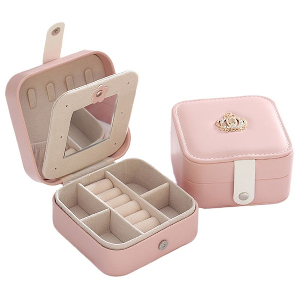Simple Creative Voyage Boîte à bijoux portable Boucles PU oreilles Studs Bague Bracelet boîte de rangement