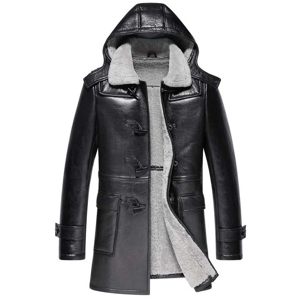 men's leather jacket genuine sheepskin coat winter jacket men natural wool fur liner luxury warm jackets 5xl veste homme my1626, Black