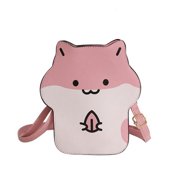 Ins Hot Cute Hamster Leather Crossbody Purses Shoulder Bag Phone Messenger Hand Purse Bags Handbag Fashion For Kids Girls Bag