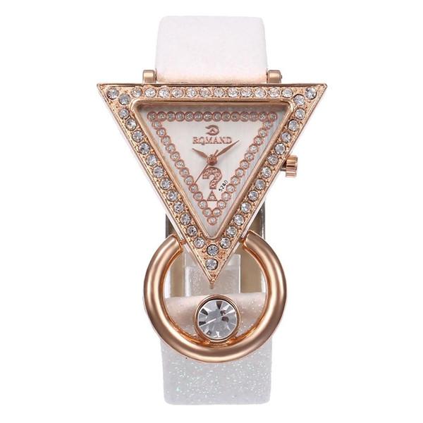 Популярные Rhinestone Треугольник Циферблат Shimmer Искусственный Кожаный Ремешок Женщины Кварцевые Наручные Часы