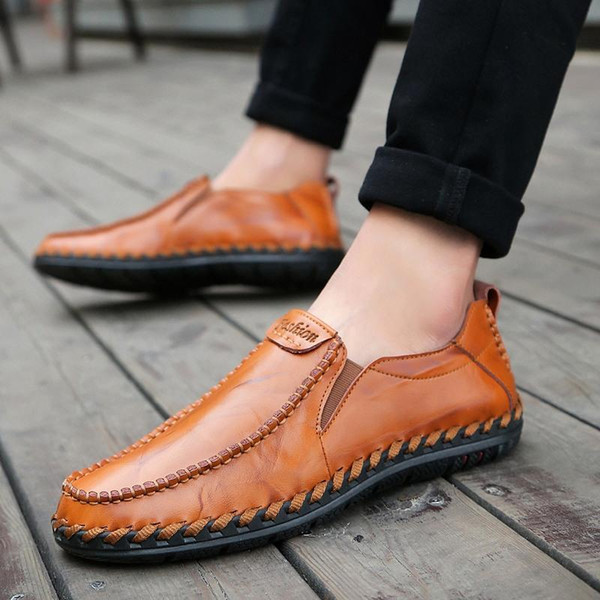 genuine leather male shoes suede loafer official shoes gentle mens travel walk shoe casual comfort breath shoes for Men top quality