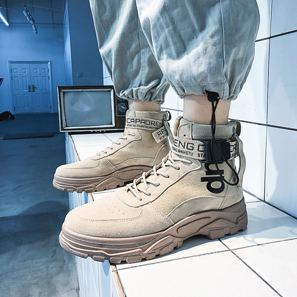 Sneakers Trend New 2019 Autumn and Winter High-top Shoes Thick Soles Increased Martin Boots Men's Trend Boots
