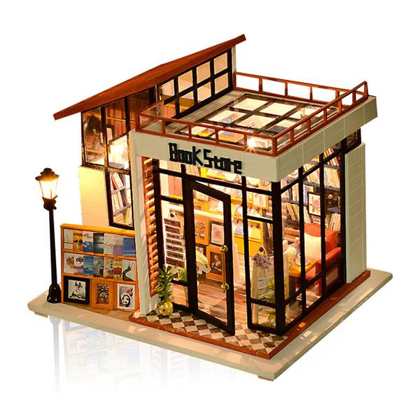 Tienda de muebles de casa de muñecas en miniatura DIY House Craft Kit modelo con luces LED de juguete de madera casa de muñecas de regalo de Navidad