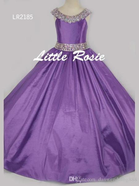 Ziemlich Rosa Lila Rot Taft Perlen Blumenmädchenkleider Prinzessin Kleider Mädchen Festzug Kleider Nach Maß Größe 2-6 8 10 12 14 KF326185