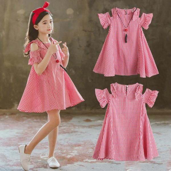 Compre Vestido Lindo Para Niños Vestidos Cortos Para Niñas De Verano De Manga Corta A Cuadros Vestido Casual Para Niños Vestidos De Tallas Grandes