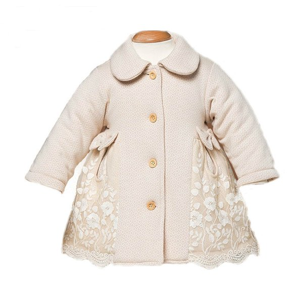2018 Infant Baby Girl Winter Organic Cotton Long Sleeve Lace Jackets Toddler Thick Padded Coats Snowsuit Outerwear Clothes
