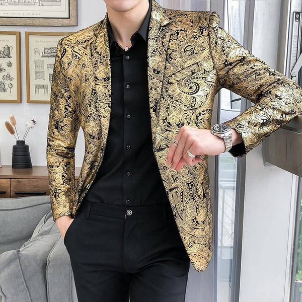 Bühne Für Casual Großhandel Männer Hochzeitsanzüge Slim Herren Jacke Mode Golden Blazer Blume Anzüge Dennicome Smoking Business Neu Von Fit qzSUGVpM