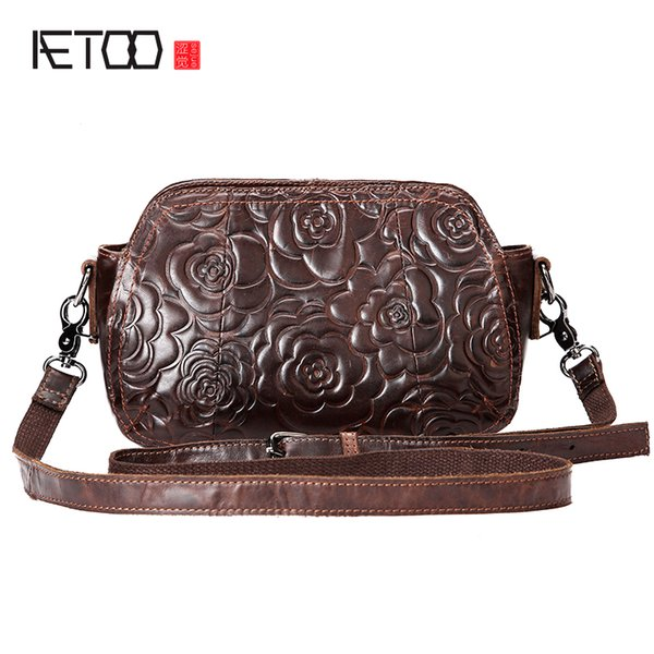 AETOO New leather ladies bag classic embossed first layer of leather handbag retro oblique cross shoulder bag