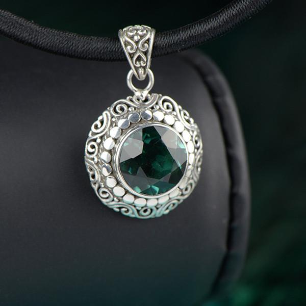 Colgante genuino de plata 925 para mujer con esmeralda natural de piedras preciosas, amuletos personalizados y talismanes, mujer
