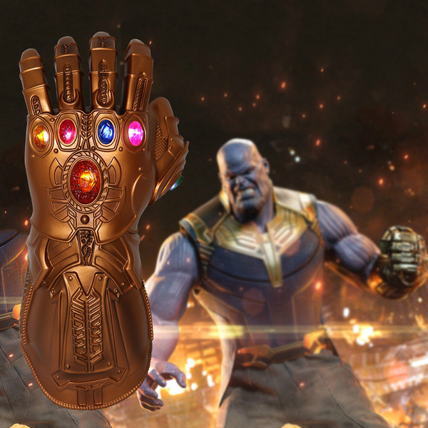 LED Light Thanos Infinity Gauntlet Avengers 4 Infinity War Cosplay LED Gloves PVC Action Figure Model Toys Gift Halloween Props