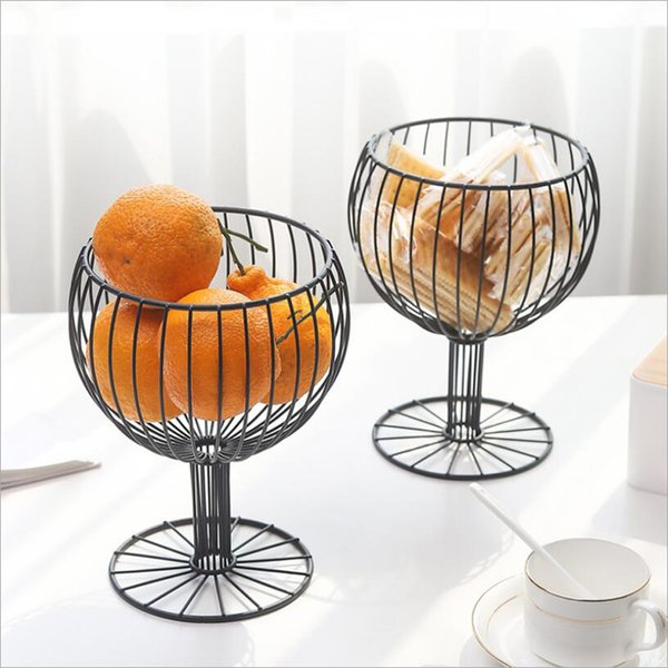 2019 Geometric Hollowed Iron Wine Cup Shaped Fruit Basket,Modern Kitchen  Countertop Snack Candy Storage Organizer Platter Tray Stand Holder From ...