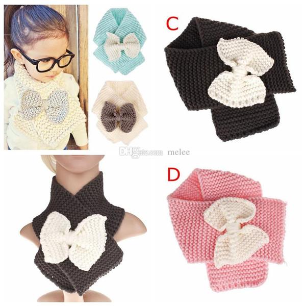 INS fall winter kids scarves baby crochet scarf fashion bows neckerchief girls handmade wool knitted scarfs warm muffler cute accessories