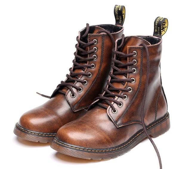 2018 hommes Martin bottes et bottines en cuir véritable femmes martin bottes vache muscle unique lacer les chaussures pour hommes zy857