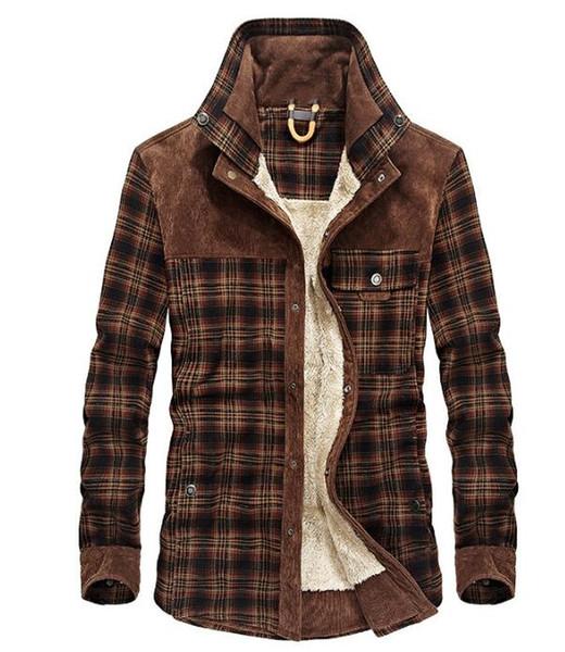 Vêtements d'hiver Casual Mode pour hommes en coton épais carreaux Chemise automne et en hiver rétro chaud épais Shirt Veste Top Flanelle Homme
