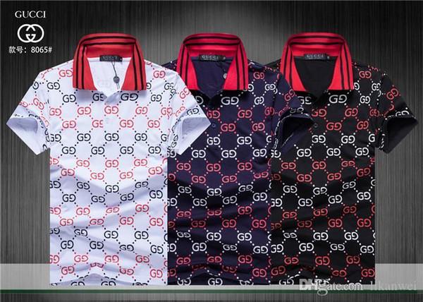 Nuova maglietta degli uomini del cotone a maniche corte Modello di stampa lettera di stampa estiva moda traspirante Maglietta di polo casual Casual 2019 shippin libero