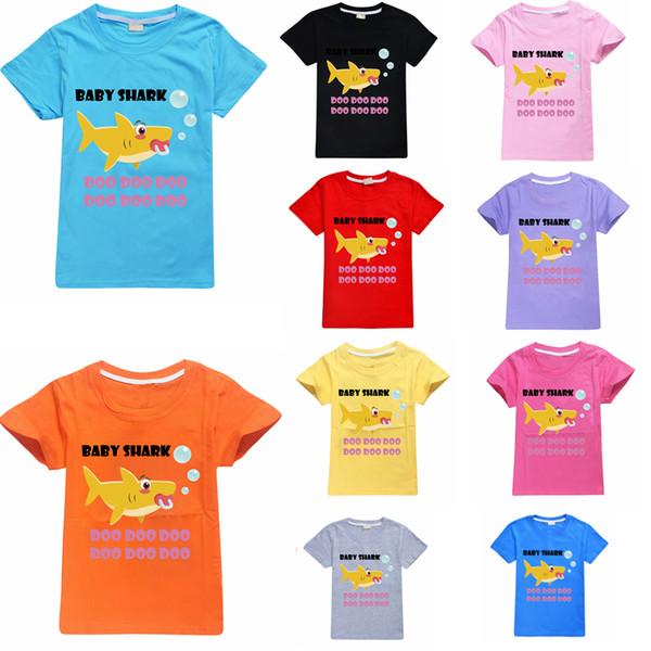 Baby 10styles Haifischt-shirt-Kurzschlussoberseite kleidet Jungen-Haifisch-Sommer-T-Shirt 3D Druckoberseiten-Karikatur-beiläufige Hemd-Kurzschluss-Hülsen-Oberseite FFA2264