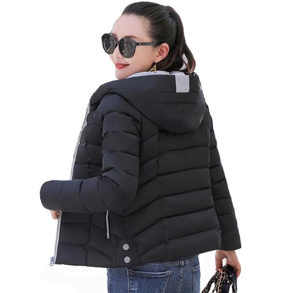 2019 Yeni Tasarım Kış Ceket Kadınlar Kapşonlu Yastıklı Dış Giyim Sonbahar Kadın Ceket Kısa Ince Bayan Parka Casaco Feminino Inverno