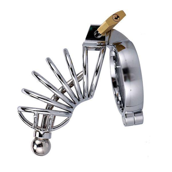 Cintura in acciaio inossidabile cintura lunga gabbia con spina dilatatore uretrale maschio gabbia per uccelli pene cazzo blocco bondage giocattolo del sesso Y190716