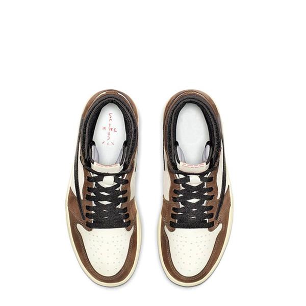 1 s Travis siyah koyu mocha ÜST Fabrika Sürüm 1 ters tasarımcı Basketbol Ayakkabıları mens eğitmenler Kutusu ile Yeni 2019 Sneakers