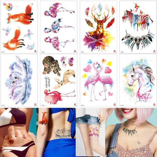 Colored Drawing Flamingos Unicorn Body Tattoo Beauty Animal Design Temporary Tattoo Sticker for Kids Women Men Wedding Cartoon Gift Love Arm