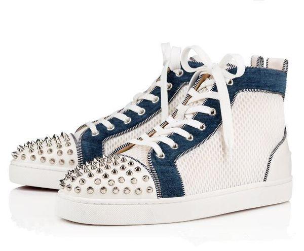 19s Ac Spikes Orlato Sneakers Plano Perfeito Vestido de Festa Red Bottom Homens De Luxo Ao Ar Livre Malha Branca de Couro Respirável Casual Lazer Flats