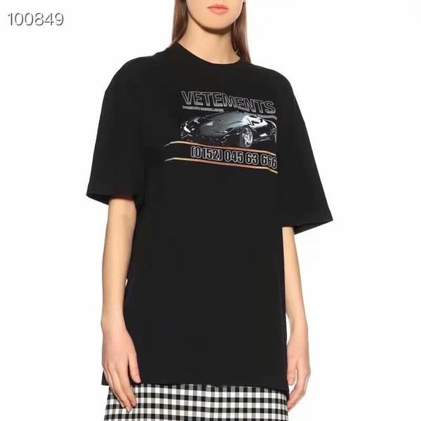 2019SS Vetements Aplike Tee Boy Tişört mektup Baskı Moda Rahat T-shirt Streetwear Hip-Hop Yaz Erkek Kadın Gevşek Tee
