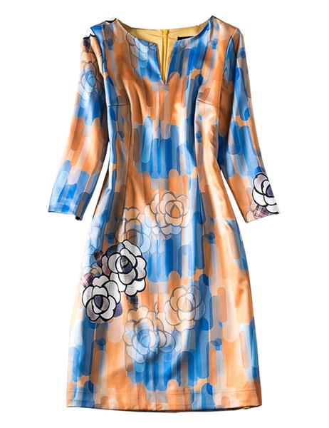 Mode-Blumen-Druck Damen Etuikleid 3/4 Hülsen-beiläufige Kleider 091938