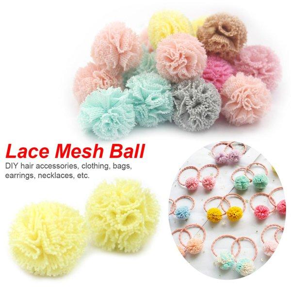 top popular 24Pcs Lot Lace Gauze Elastic Flower Ball DIY Handmade Plush Pompom Mesh Pendant For Head Hair Wedding Dress Sew Accessories 2021