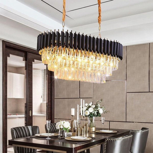 Modern Kitchen Island Crystal Chandelier For Luxury Dining Room Crystal  Chandeliers Hanging LED Pendant Lighting Black Free UPS Chandeliers For ...