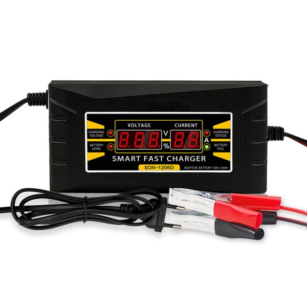 Smart Fast 12V 6A Lead-acid Battery Charger fit Car Motorcycle LCD Display EU//US