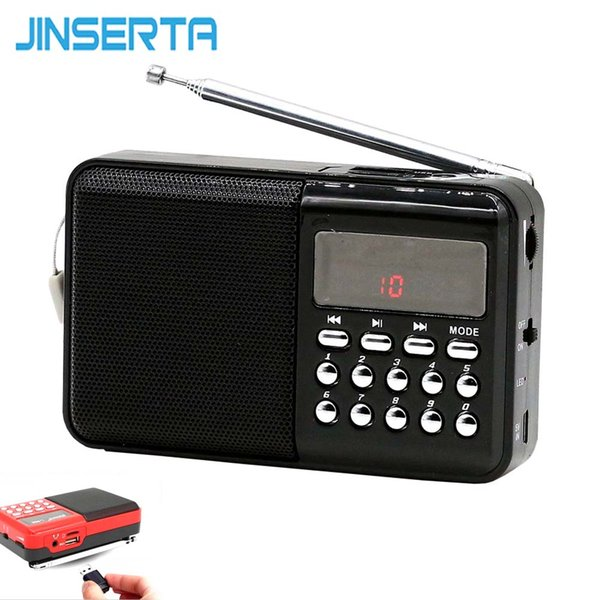 JINSERTA Mini Radio Portable Digital FM/AM Receiver Support TF Card/U Disk Play with Charging Cable+Lanyard