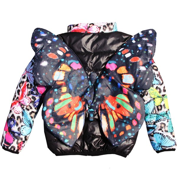 Girls coat 2019 New Children Jacket Print Kids warm Jackets Winter coat Baby coat Clothing Outerwear nice 3D butterfly coatMX190916